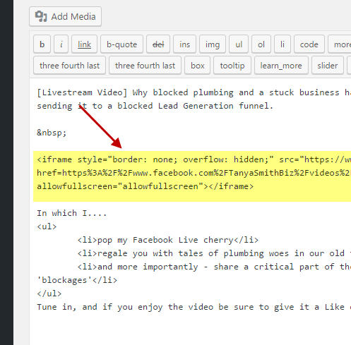 adding video embed code to your blogpost