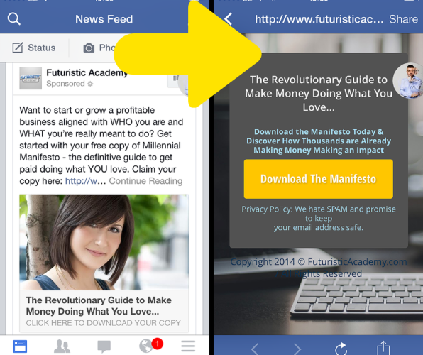 match your facebook ad and landing page message